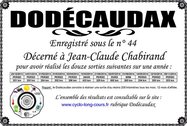 0044 Diplôme Dodécaudax Jean-Claude Chabirand