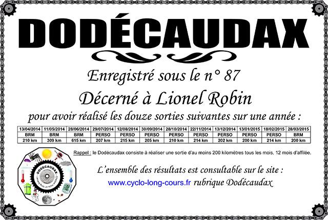 0087 Diplôme Dodécaudax Lionel Robin