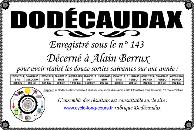 0143 Diplôme Dodécaudax Alain Berrux