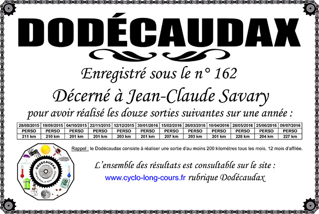 0162 Diplôme Dodécaudax Jean-Claude Savary