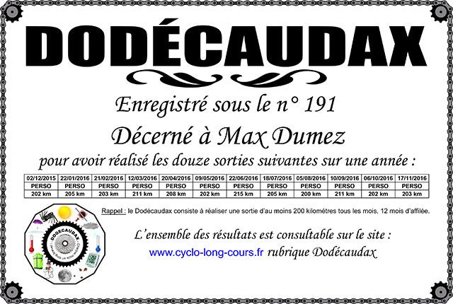 0191 Diplôme Dodécaudax Max Dumez