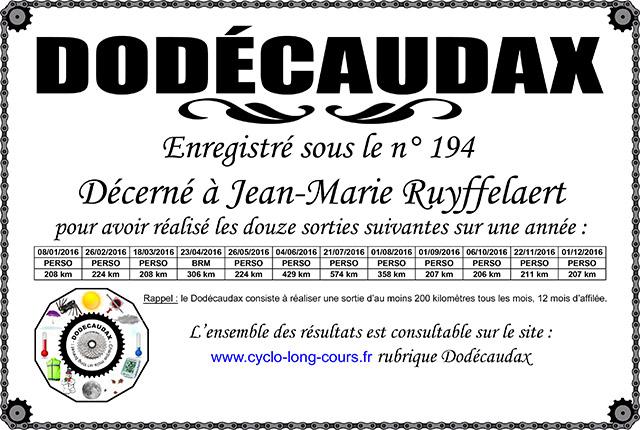 0194 Diplôme Dodécaudax Jean-Marie Ruyffelaert