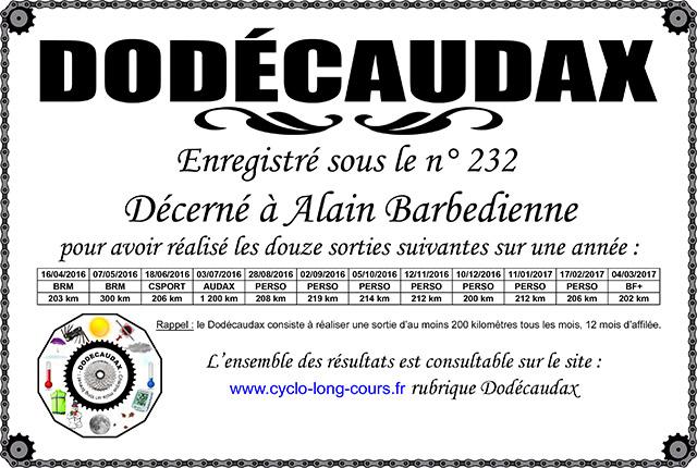 0232 Diplôme Dodécaudax Alain Barbedienne