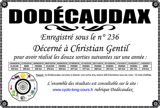 0236 Diplôme Dodécaudax Christian Gentil