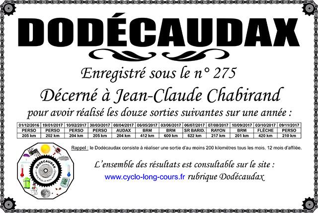 0275 Diplôme Dodécaudax Jean-Claude Chabirand