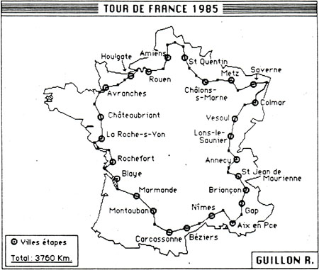 Carte de mon Tour de France 1985 ©cyclo-long-cours.fr