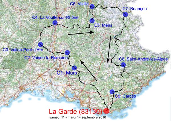 BRM 1000 Km au départ de La Garde (près de Toulon)