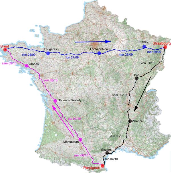 Triangle Brest-Strasbourg-Perpignan-Brest : trois diagonales enchaînées