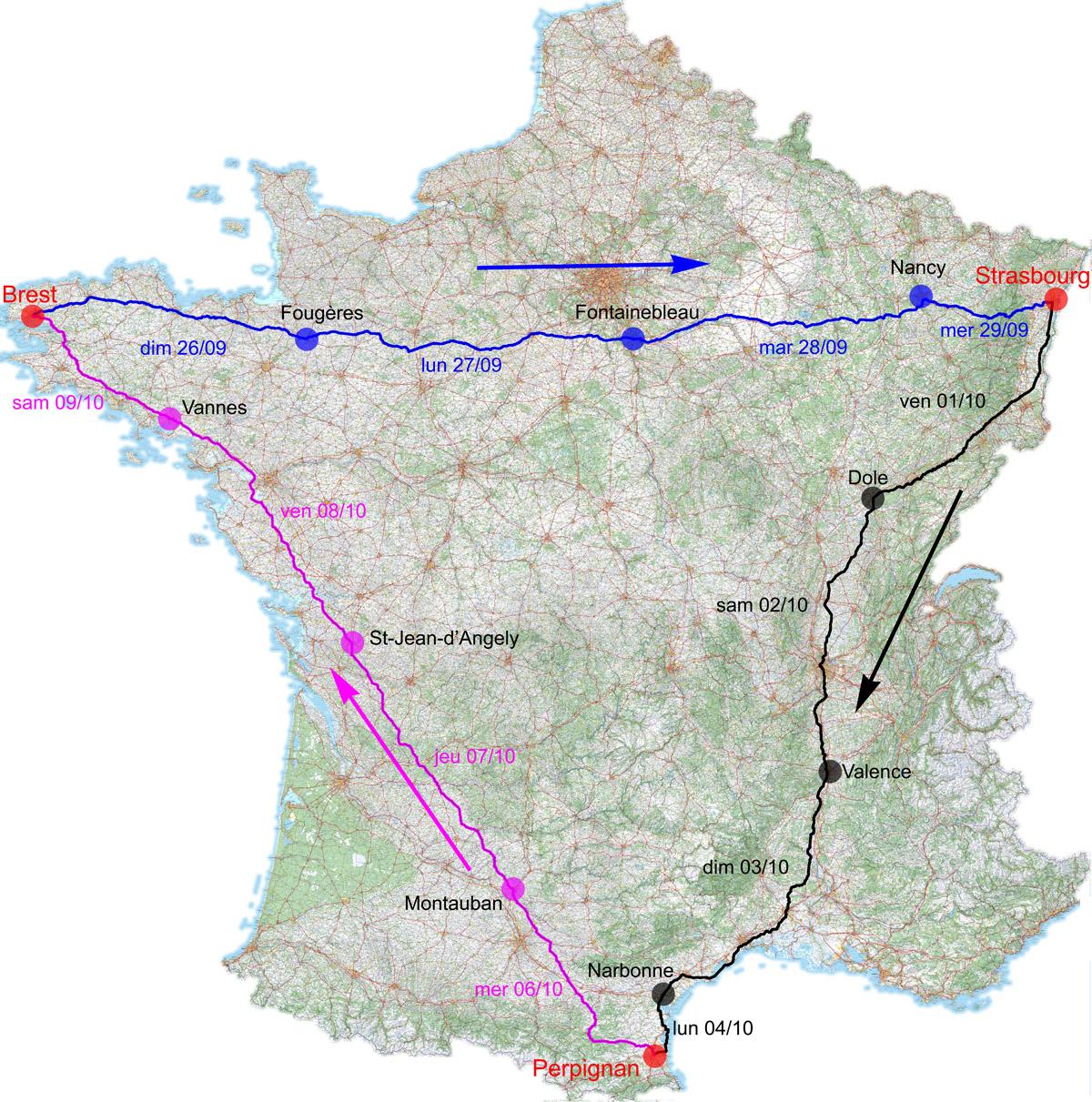 Triangle 2010, trois diagonales de France à la suite : Brest-Strasbourg, Strasbourg-Perpignan, Perpignan-Brest