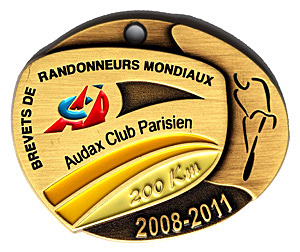 Médaille BRM 200Km, période 2008-2011
