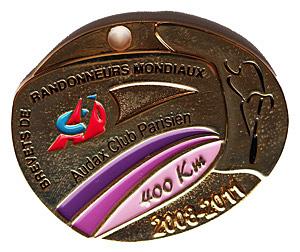 Médaille BRM 400Km, période 2008-2011