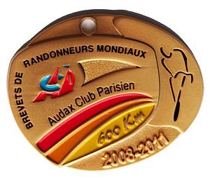 Médaille BRM 600Km, période 2008-2011
