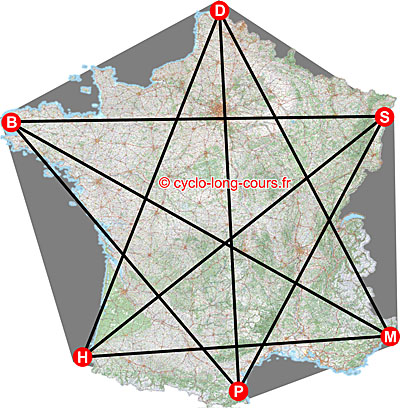 La carte des Diagonales de France ©cyclo-long-cours.fr
