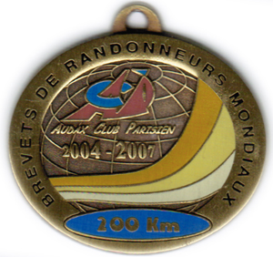 Médaille BRM 200Km, période 2004-2007