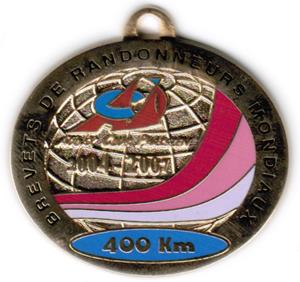 Médaille BRM 400Km, période 2004-2007