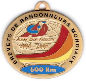 Médaille BRM 600Km, période 2004-2007