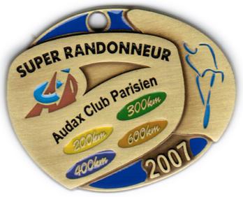 Médaille Super Randonneur, période 2004-2007