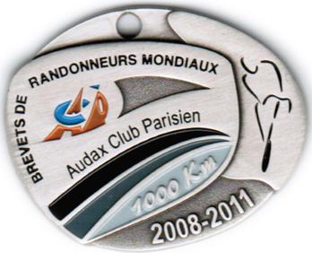 Médaille BRM 1000Km, période 2008-2011