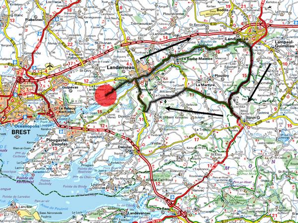 Circuit 61 Km La Forest, Landerneau, Landiviau, Sizun, Landerneau, La Forest