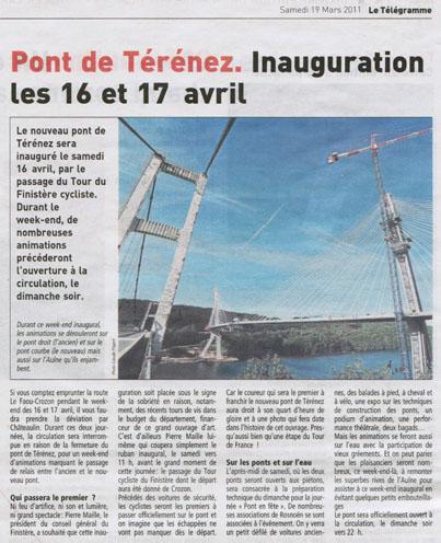 Le Télégramme du 19 mars 2011 : Inauguration du pont de Térénez