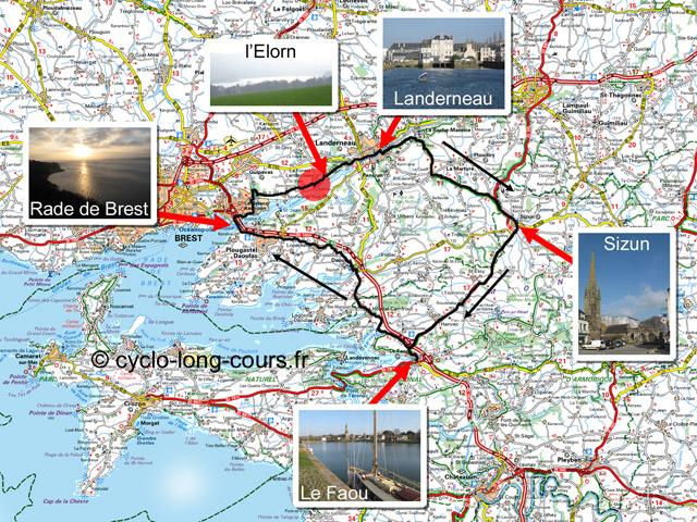 Circuit de 77 Km : Landerneau, Sizun, Le Faou, Le Relecq-Kerhuon