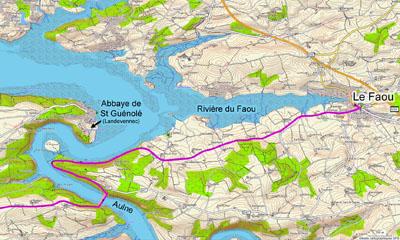 Parcours entre Le Faou et le pont de Térénez