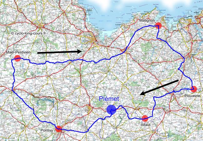 17 avril 2011 : carte du BRM300 de Plémet (22)