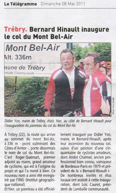 Le Télégramme du 8 mai 2011 : inauguration du col du Mont Bel-Air (22)