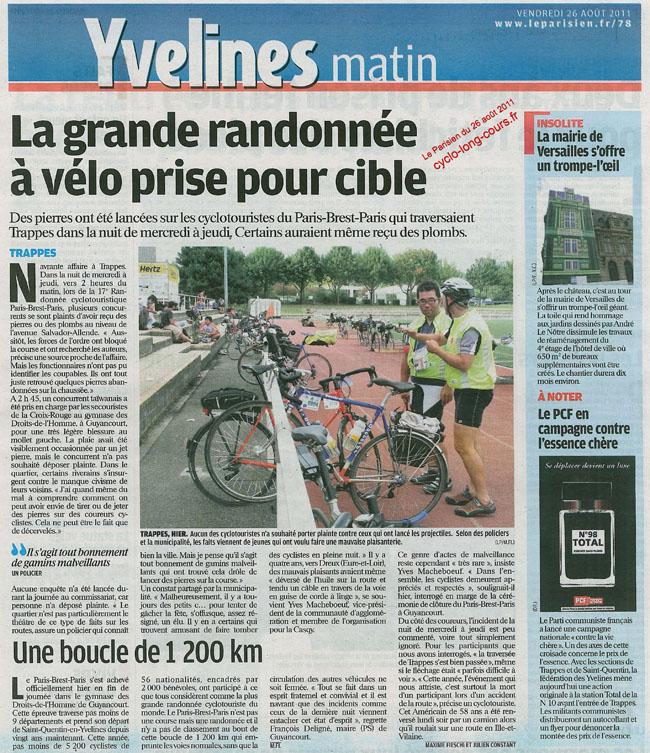 Le Parisien du 26 août 2011