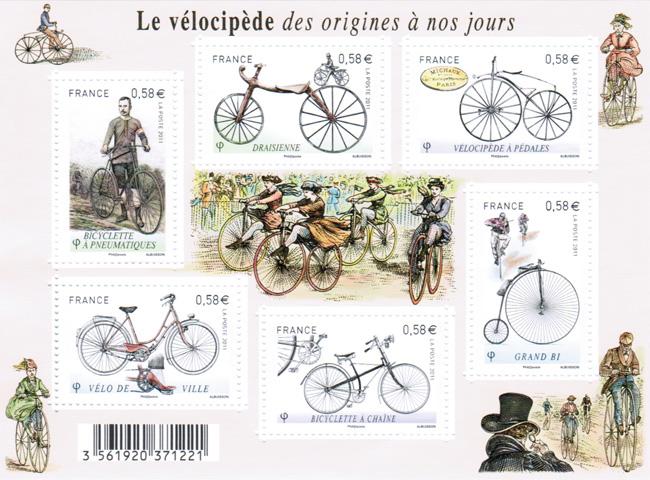 Planche de timbres : le vélocipède des origines à nos jours