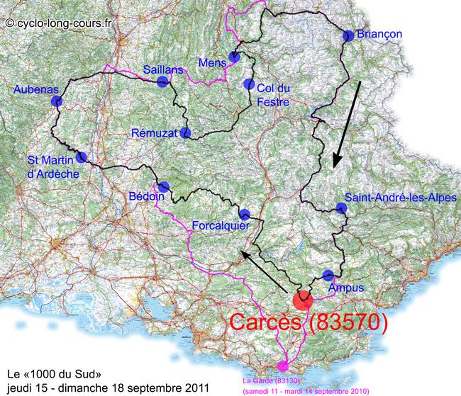 1000 du Sud (Comparaison édition 2011 / édition 2010)