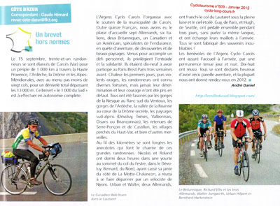Le 1000 du Sud : Magasine Cyclotourisme n609 - Janvier 2012
