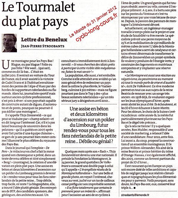 Le Monde du 31 janvier 2012 : Le Tourmalet du plat pays