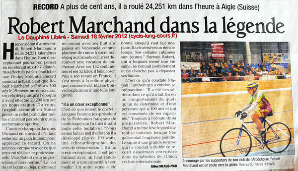 Le Dauphiné Libéré : Record de l'heure des plus de 100 ans pour Robert Marchand