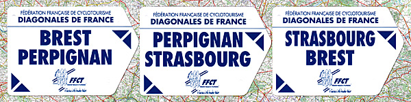 Diagonales Brest-Perpignan, Perpignan-Strasbourg, Strasbourg-Brest : plaques de cadre