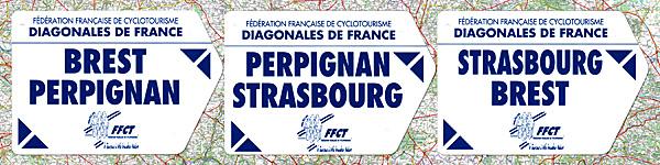 Diagonales Brest-Perpignan, Perpignan-Strasbourg, Strasbourg-Brest : plaques de cadre