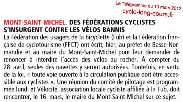Télégramme du 10 mars 2012 : les vélos bannis du Mont-Saint-Michel