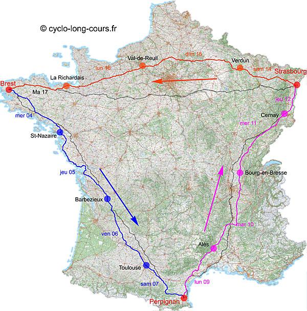 Diagonales Brest-Perpignan, Perpignan-Strasbourg, Strasbourg-Brest