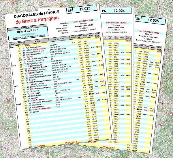 Feuilles de route du triangle Brest-Perpignan-Strasbourg-Brest