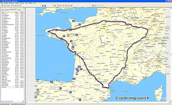 Tracé GPS sur Mapsource des trois Diagonales