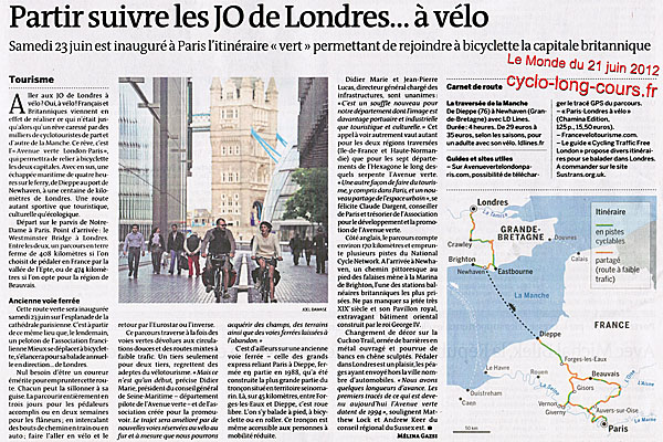 Le Monde du 21 juin 2012 : Paris-Londres à vélo