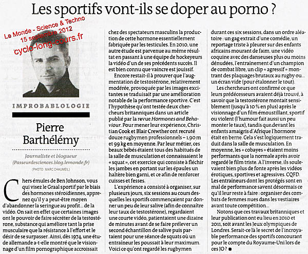 Le Monde du 15 septembre 2012 : Dopage au porno