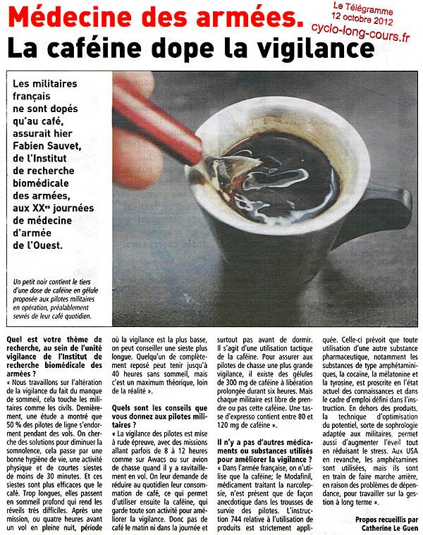 Le Télégramme du 12 octobre 2012 : La caféine dope la vigilance