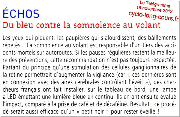 Le Tlgramme du 19 novembre 2012 : Du bleu contre la somnolence au volant