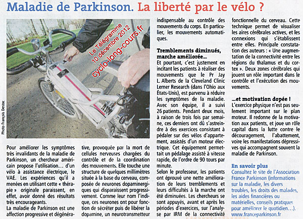 Le Tlgramme du 10 dcembre 2012 : Maladie de Parkinson, la libert par le vlo