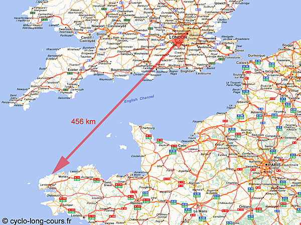 Distance Brignogan-Loughton