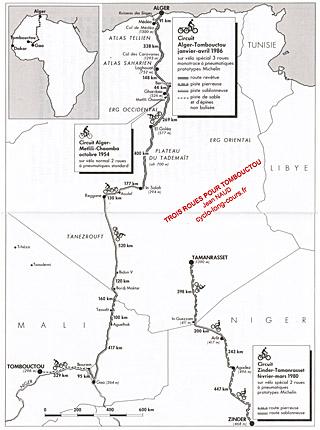 Carte des périples à vélo de Jean NAUD