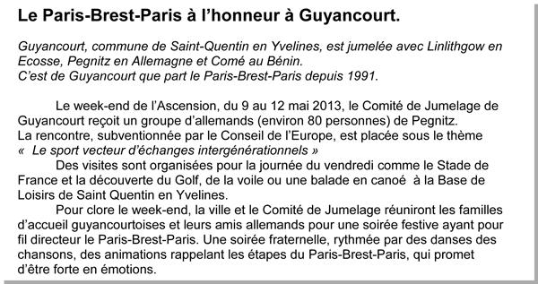 Jumelage Guyancourt-Pegnitz, mai 2013 ©Armelle Eyraud pour cyclo-long-cours.fr