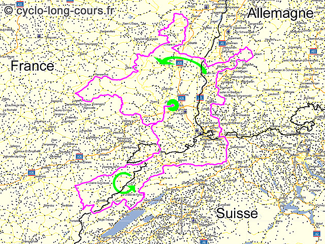 Carte TriRhéna 2014 ©cyclo-long-cours.fr