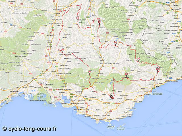 Carte 1000 du Sud 2014 ©cyclo-long-cours.fr
